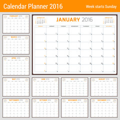 Calendar Planner for 2016 Year. Vector Stationery Design Template. 3 Months on Page. Week Starts Sunday. 12 Months