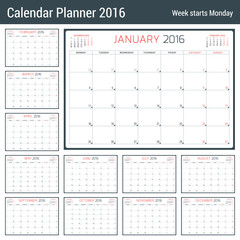 Calendar Planner for 2016 Year. Vector Stationery Design Template. 3 Months on Page. Week Starts Monday. 12 Months