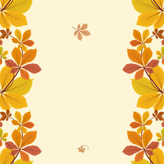 Autumn background, border ornament with yellow leaves