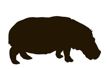 Vector silhouette of a hippopotamus