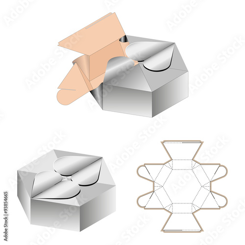 Gift Box Packaging Template White Cardboard Heart Shaped Opening