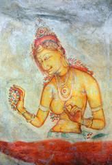 Sigiriya maiden - frescoes at fortress in Sri Lanka