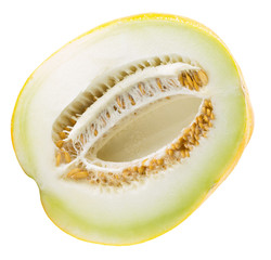 half of melon isolated on the white background