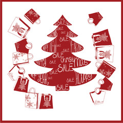 fir-tree with purchases. Christmas sale.