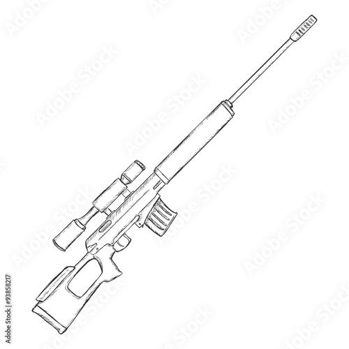 Ak 47 gun drawing sketch coloring page for Ak 47 coloring pages