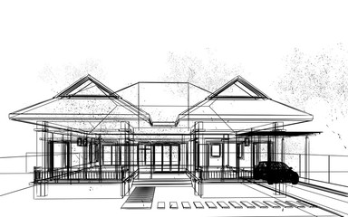 abstract sketch design of exterior house