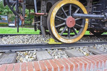 Wheel old steam locomotive