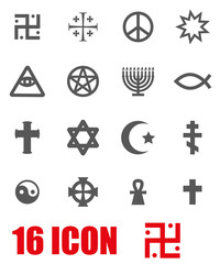 Vector grey religious symbols set