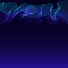 Abstract waves-lines dark blue background with northern lights