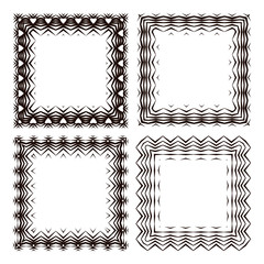 Set of striped frames (one with hearts), in vector