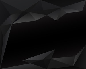 Black polygonal triangle background with copy space, vector