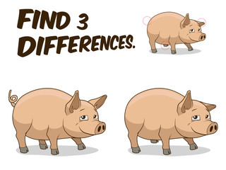 Find differences game pig vector illustration