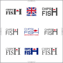 Set of fish and chips labels and badges isolated on white backgr