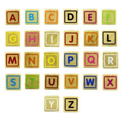 English letters on the wood