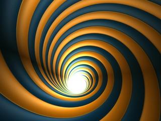 3d Orange And Blue Abstract Vortex