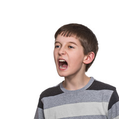 boy doing facial expressions, isolated on white background