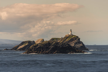 Lighthouse at beautiful Faeroe islands, summer time