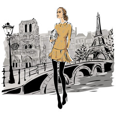 Wall Mural - Fashion models in sketch style fall winter with Paris city background