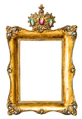 Golden picture frame decorated with gemstones