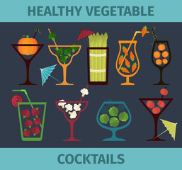 Vegetable cocktails. Health, vegetarian, diet lifestyle. Flat style vector illustration. Can be used in cooking books, restaurant menu and organic farm labels, healthy lifestyle or diet design element