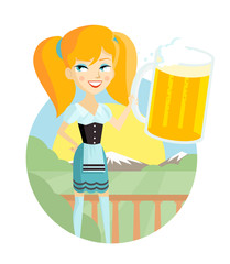 mujer en el campo con una gran jarra de cerveza artesanal