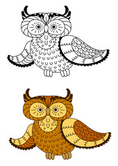 Cartoon owl with brown and yellow plumage