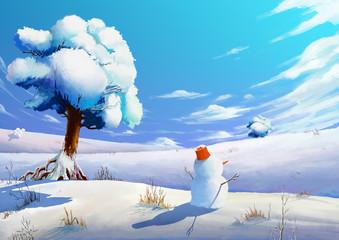 Illustration: The Winter Snow Field with SnowMan. Fantastic Cartoon Style Scene Wallpaper Background Design.