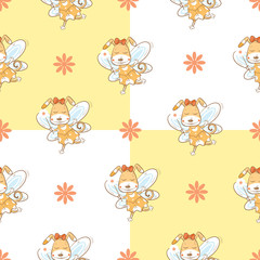 Vector seamless pattern with fairies dogs  on a checkered  background.