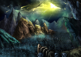 Illustration: War is going to begin! Fire Ball fall from Sky. The Dark Skeleton Armies Marching in the Valley. Fantastic Cartoon Style Wallpaper Background Scene Design.