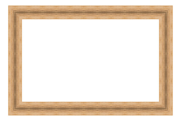 Brown wooden frame isolated on white background. Contemporary picture frames in high resolution vibrant colors. Wood photo frame. Wooden frame for paintings or photographs.