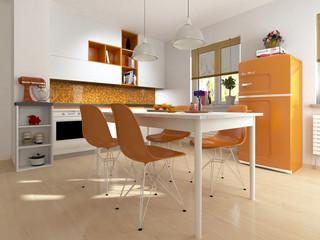 Küche modern Retro Kühlschrank Einbauküche