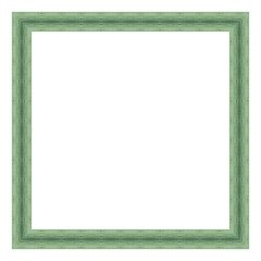 Green wooden frame isolated on white background. Contemporary picture frames in high resolution vibrant colors. Wood photo frame. Wooden frame for paintings or photographs.