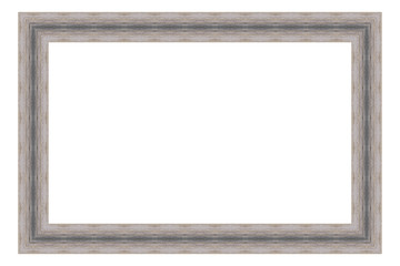 Grey wooden frame isolated on white background. Contemporary picture frames in high resolution vibrant colors. Wood photo frame. Wooden frame for paintings or photographs.