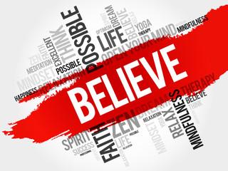 Believe word cloud concept