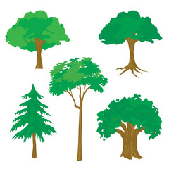 Tree Nature Green Cartoon Vector