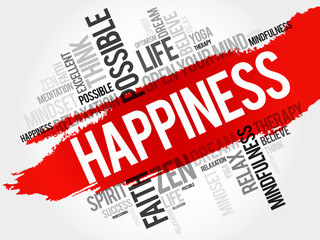 Happiness word cloud concept