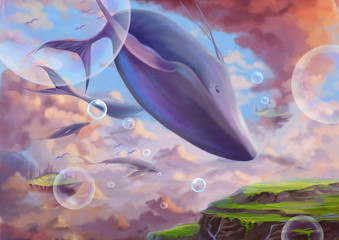 Illustration: The Flying Great While Whale. Fantastic Cartoon Style Wallpaper Background Scene Design with Story.