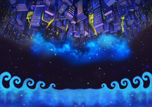 Illustration: The Upside Down City Buildings in the Starry Night with Flying Fish. A Good Wish Card appropriate for any event. Fantastic Cartoon Style Wallpaper Background Scene Design.