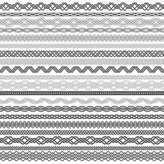 Set of vintage borders for design. Twenty border elements for frames in knotting style.