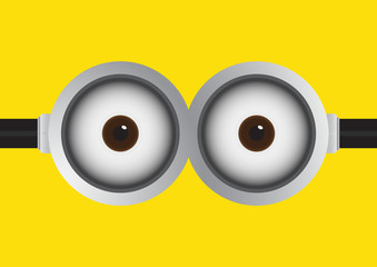 Goggle with two eyes on yellow background. Vector illustration.