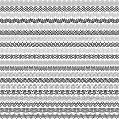 Set of vintage borders for design. Twenty border elements for frames in knotting style. Patterned brushes kit.