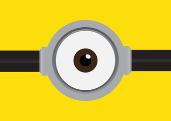 Goggle with one eye on yellow background. Vector illustration.
