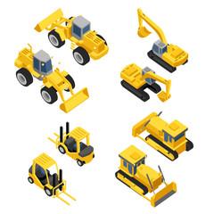 City construction Flat isometric transport icon set.