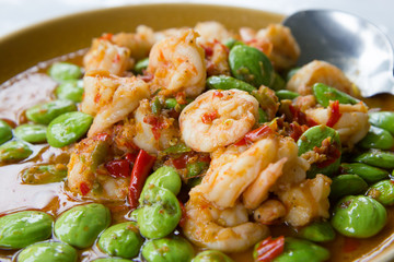 Stir-fried stink bean with shrimp