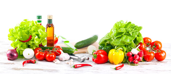 Fresh vegetables ready for preparing salad.