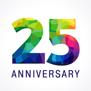 25 anniversary color logo. The bright faceted logotype of 25th birthday.