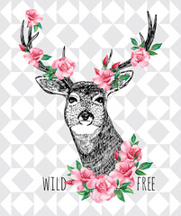Wild and free. Deer with roses hand drawn illustration