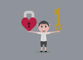 key boy and heart shaped lock