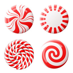 Christmas round candy set. Peppermint candies without wrapper