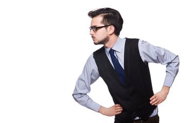 Wall Mural - Young businessman isolated on white